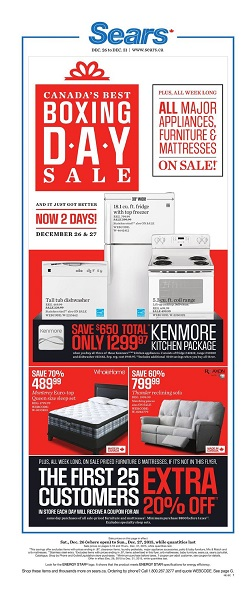 Sears Catalogue Boxing Day Sale 2015